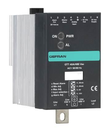 Jednofázové polovodičové relé s chladičom a analógovým riadením Gefran GTT